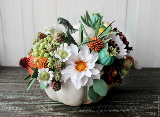 Интерьерные композиции ручной работы. Ярмарка Мастеров - ручная работа. Купить Цветы в тыкве. Handmade. Комбинированный, скабиоза, ежевика, венидиум