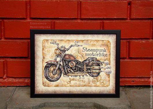 """Фантазийные сюжеты ручной работы. Ярмарка Мастеров - ручная работа. Купить Картина в раме """"Стимпанк-байк"""" мотоцикл коричневый рок. Handmade."""