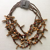 "Украшения handmade. Livemaster - original item Multistrand necklace ""Autumn Sonata"" of wood, coconut, seeds. Handmade."