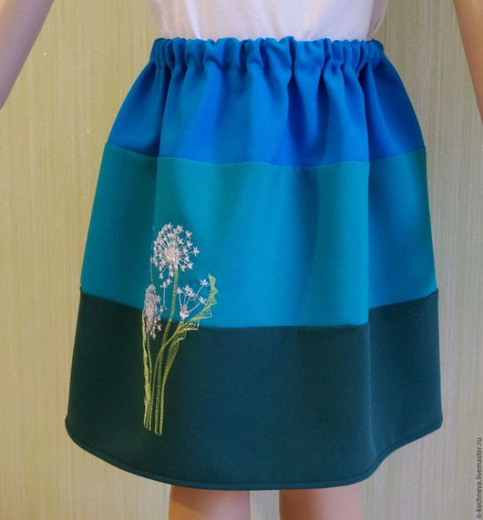 Одежда для девочек, ручной работы. Ярмарка Мастеров - ручная работа. Купить Детская юбка синяя с одуванчиком. Handmade. Комбинированный