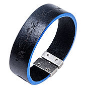 Украшения handmade. Livemaster - original item Bracelet leather T-20 Black-Blue. Handmade.