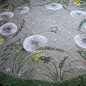 Для дома и интерьера handmade. Livemaster - original item Large 47 cm!! the linen napkin painted... Dandelion happiness.... Handmade.