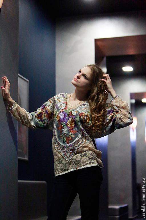 Блузки ручной работы. Ярмарка Мастеров - ручная работа. Купить Блуза Отрада. Handmade. Разноцветный, одежда из платков, блузка летняя