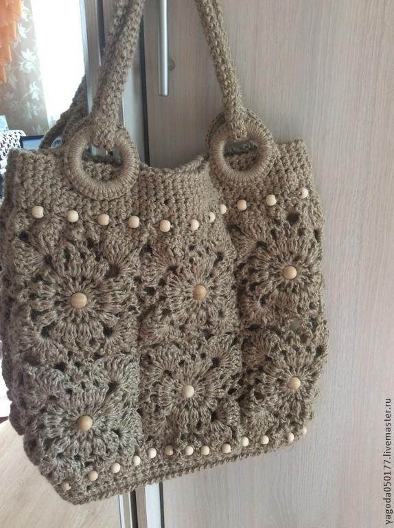 Сумки и аксессуары ручной работы. Ярмарка Мастеров - ручная работа. Купить Джутовая сумка, вязаная из мотивов. Handmade. Для женщин