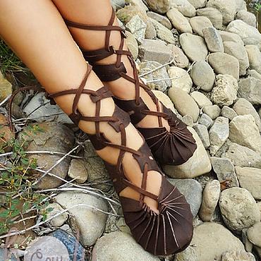 """Обувь ручной работы. Ярмарка Мастеров - ручная работа Коричневые кожаные сандалии """"Crazy Horse"""". Handmade."""