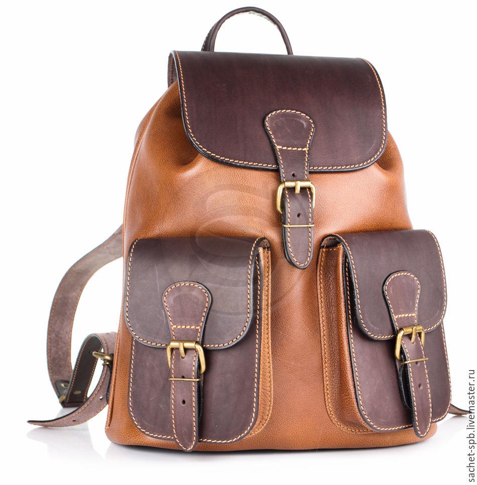 """Мужские сумки ручной работы. Ярмарка Мастеров - ручная работа. Купить Кожаный рюкзак """"Классик 2"""" коричневый. Handmade. Коричневый"""