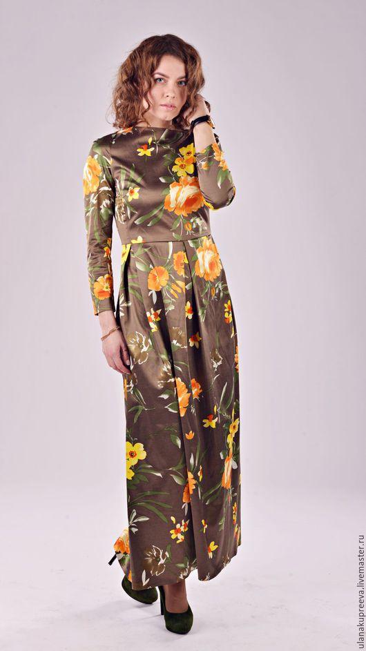 Блеск и роскошь шелкового сатина и шуршащего атласа.Платье в пол.