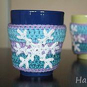 Подарки к праздникам ручной работы. Ярмарка Мастеров - ручная работа Грелки для кружки комплект из 2шт Снежинка 3. Handmade.
