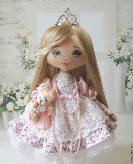 Коллекционные куклы ручной работы. Ярмарка Мастеров - ручная работа. Купить Принцесса. Handmade. Бледно-розовый, купить куклу, лён