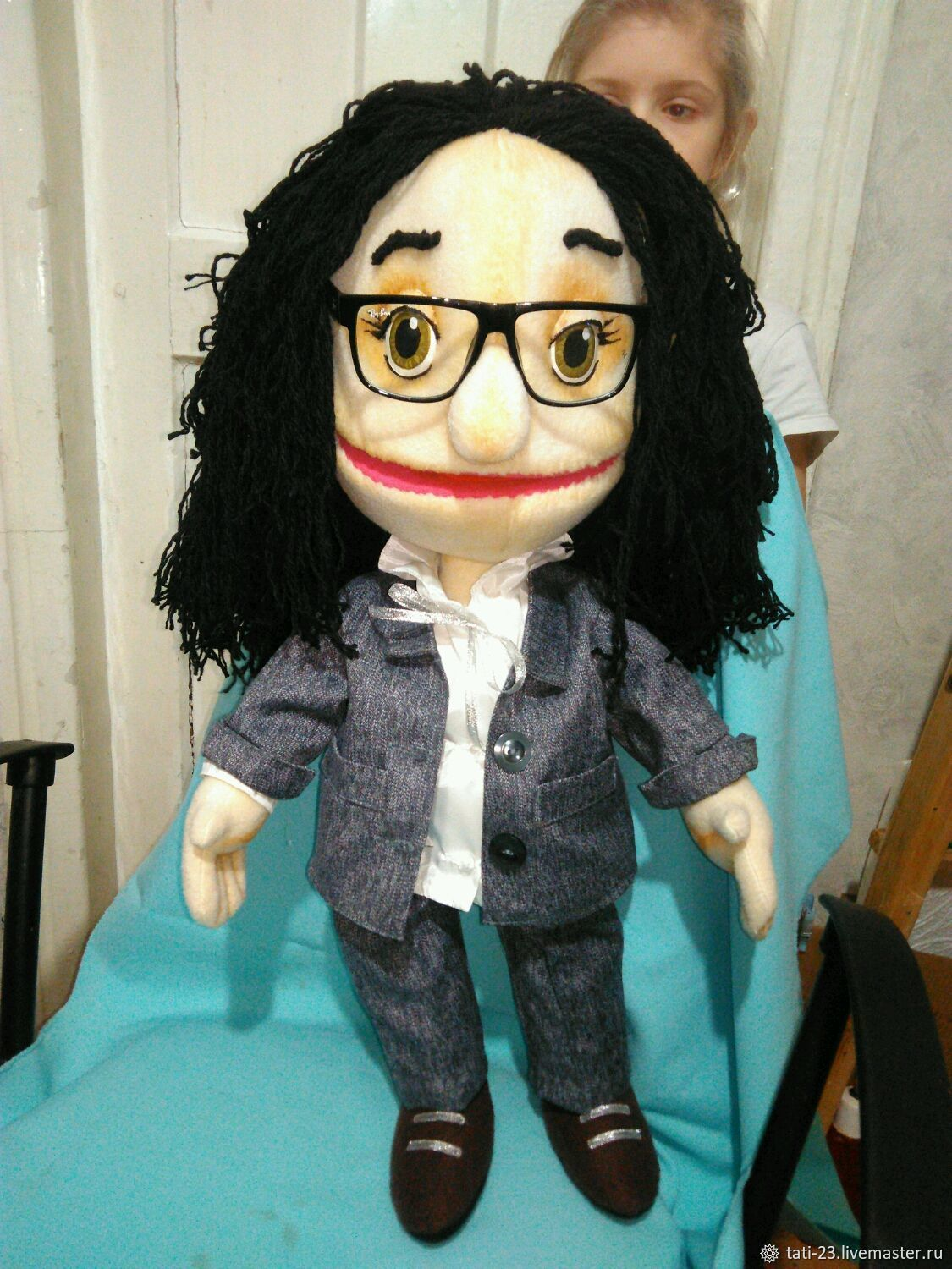 Psychologist. Theatrical muppet doll. Puppets.  Cane, Portrait Doll, Voronezh,  Фото №1