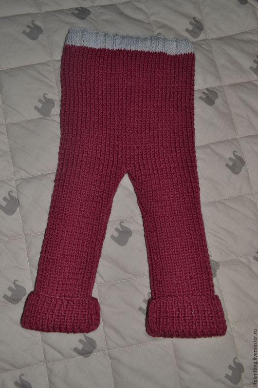 Одежда унисекс ручной работы. Ярмарка Мастеров - ручная работа. Купить штаны вязаные детские. Handmade. Бордовый, вязаные штанишки