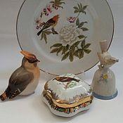 """Винтаж ручной работы. Ярмарка Мастеров - ручная работа Фарфоровая тарелка, колокольчик, статуэтка """"Птицы"""" - 3 предмета. Handmade."""