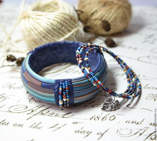 """Браслеты ручной работы. Ярмарка Мастеров - ручная работа. Купить Комплект браслетов """"Синий сон"""". Handmade. Разноцветный, брызги"""