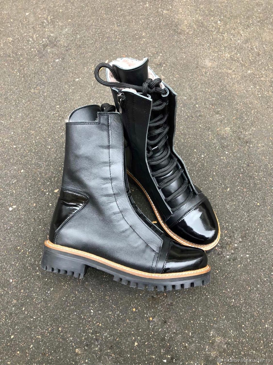 Shoes 'Ultra' black leather / black lacquer beige Welt black sole, Boots, Moscow,  Фото №1