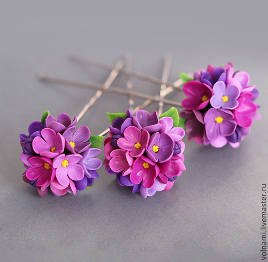 """Заколки ручной работы. Ярмарка Мастеров - ручная работа. Купить Шпильки """"Сирень"""". Handmade. Шпильки, цветы, цветы ручной работы"""