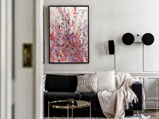 картина абстракция, картина интерьер, купить картину в москве, картины купить в интернет магазине, картина продажа, красная картина, большие картины, светлые картины, галерея