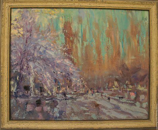 """Пейзаж ручной работы. Ярмарка Мастеров - ручная работа. Купить Картина маслом """"Цветущее дерево"""". Handmade. Сиреневый, картина для интерьера"""