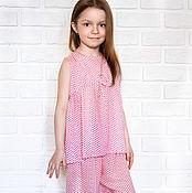 Одежда ручной работы. Ярмарка Мастеров - ручная работа Пижама для девочки из тонкой вискозы. Handmade.