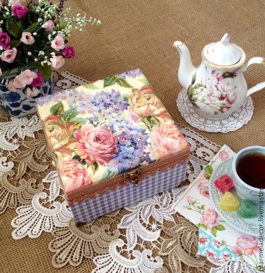 """Кухня ручной работы. Ярмарка Мастеров - ручная работа. Купить Шкатулка для чая """"Акварельные розы"""". Handmade. Кухня, чайный домик"""
