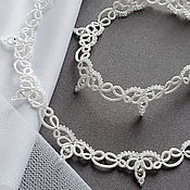 Колье ручной работы. Ярмарка Мастеров - ручная работа Свадебное колье кружевное, свадебное украшение для невесты белое. Handmade.