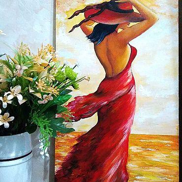 Картины и панно ручной работы. Ярмарка Мастеров - ручная работа Леди в красном. Интерьерная картина.. Handmade.
