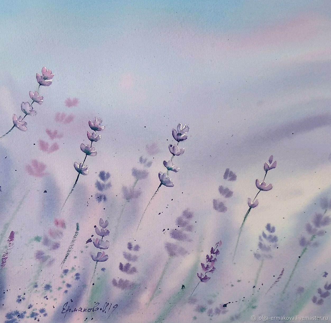 Abstract painting lavender in Provence style square watercolor, Suspension, Moscow,  Фото №1