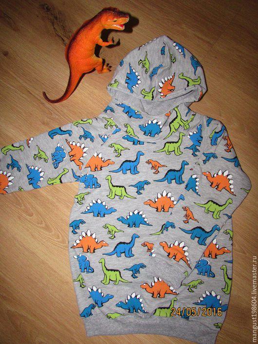 """Одежда унисекс ручной работы. Ярмарка Мастеров - ручная работа. Купить Свитшот """"Динозавры"""".. Handmade. Серый, динозавры, для мальчика, футер"""