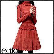Одежда ручной работы. Ярмарка Мастеров - ручная работа Платье ARTKA 100% шерсть. Handmade.