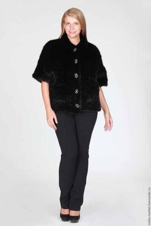 Жакет из норки вязаной `Пиджак` черный