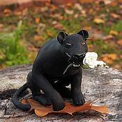 Miniature figurines handmade. Livemaster - original item A panther with a rose. Handmade.