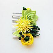 Украшения ручной работы. Ярмарка Мастеров - ручная работа Яркий желтый гребень для прически. Handmade.