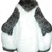 Одежда ручной работы. Ярмарка Мастеров - ручная работа Пальто меховое вязаное -песец белый отделка чернобурка. Handmade.