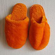 handmade. Livemaster - original item Orange sheepskin Slippers for women. Handmade.