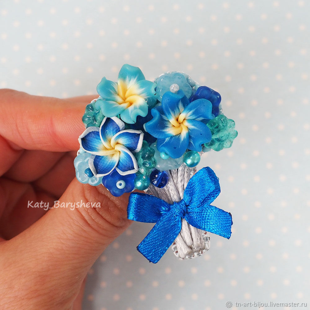 Brooch ' Bouquet of flowers '(blue color), Brooches, Sochi,  Фото №1