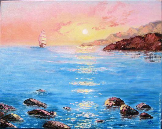 Картина маслом `Утро на море`. Картина ручной работы. Современные картины. Магазин картин.