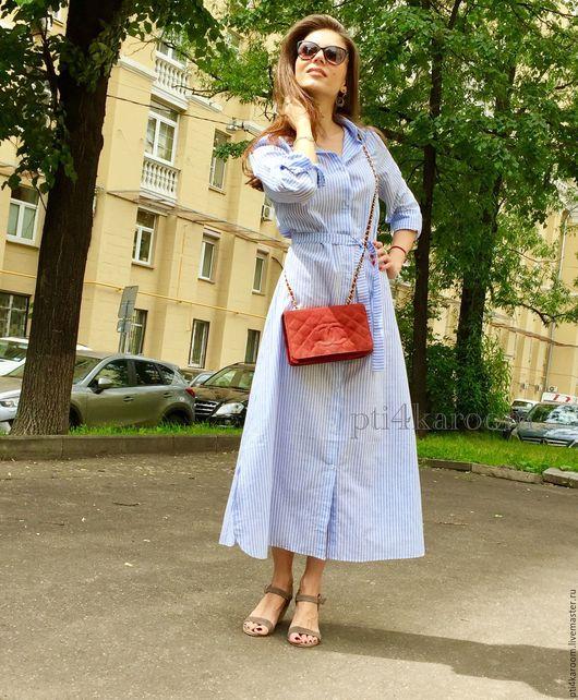 Платья ручной работы. Ярмарка Мастеров - ручная работа. Купить Платье-рубашка. Handmade. В полоску, летнее платье, миди