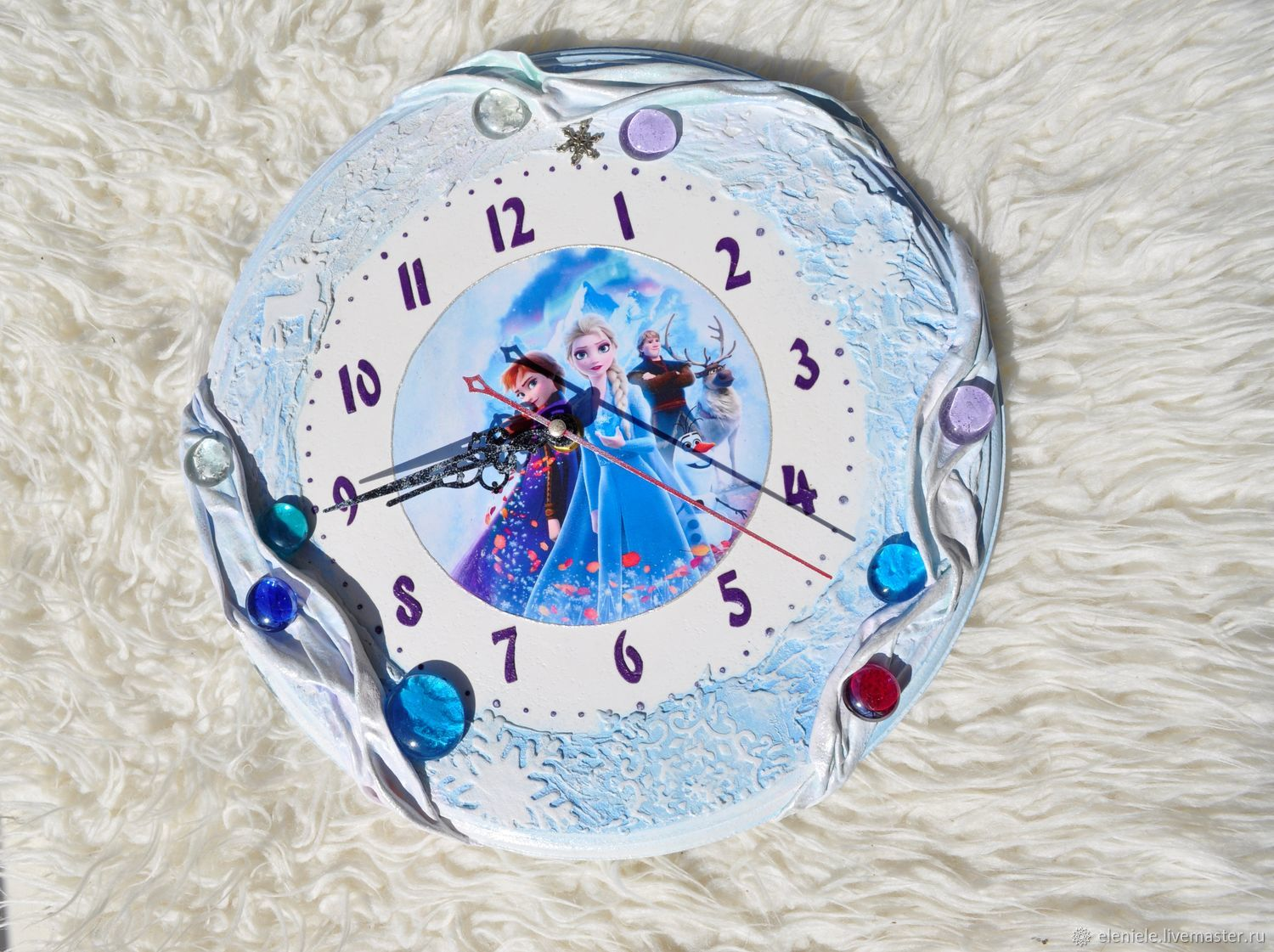 Clock decoupage 'Cold heart 2' with reliefs, Watch, Moscow,  Фото №1
