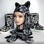Русский стиль handmade. Livemaster - original item Felted kit(boots,hat,mittens). Handmade.