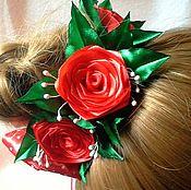 Работы для детей, handmade. Livemaster - original item Elastic beam with red roses. Handmade.