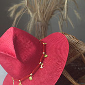 Аксессуары ручной работы. Ярмарка Мастеров - ручная работа Соломенная шляпа красное и золотое. Handmade.