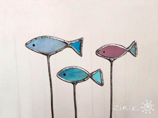 Украшения для цветов ручной работы. Ярмарка Мастеров - ручная работа. Купить Рыбки. Украшение в цветочный горшок.. Handmade. Голубой, норвегия