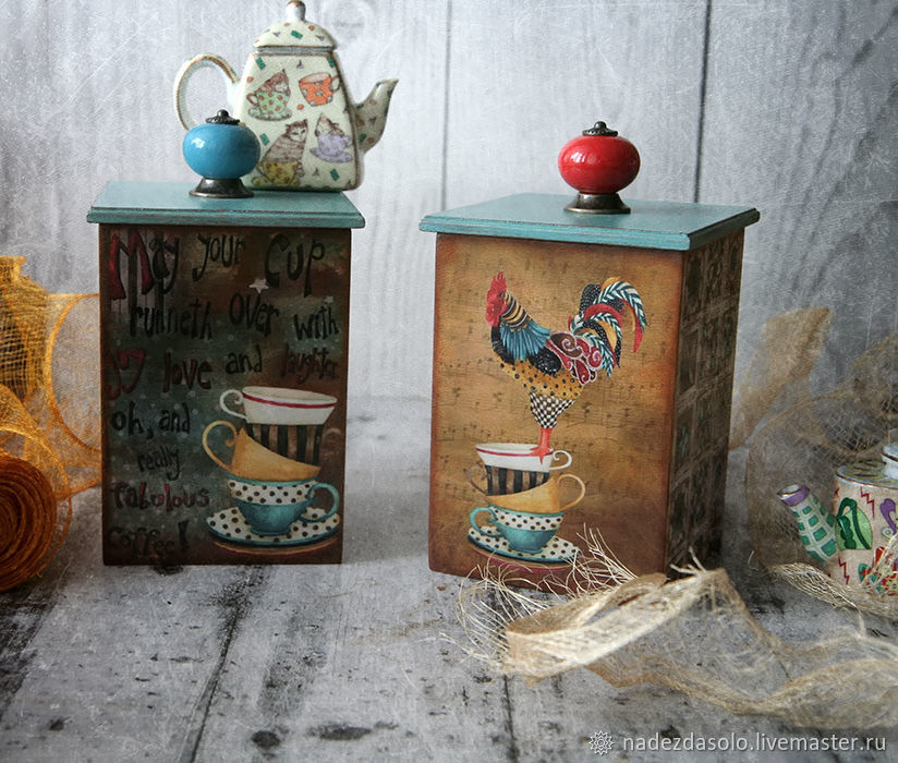 Box Of coffee in a turquoise Cup . Box decoupage, Storage Box, Khimki,  Фото №1