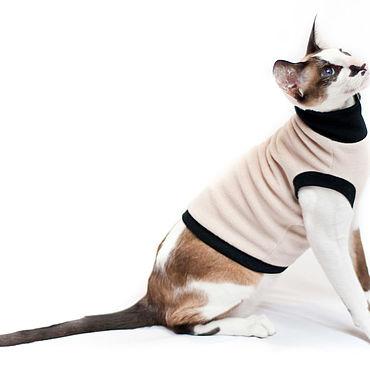 Для домашних животных, ручной работы. Ярмарка Мастеров - ручная работа Kotomoda  одежда для сфинксов водолазка БЕЖЕВЫЙ ФЛИС. Handmade.