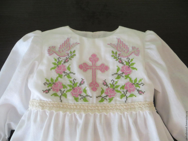 Вышивка на крестильной рубашке девочке 62