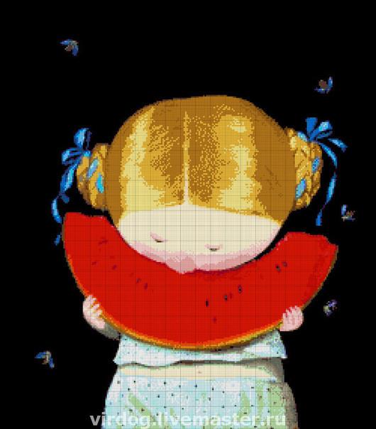"""Вышивка ручной работы. Ярмарка Мастеров - ручная работа. Купить Схема для вышивки БИСЕРОМ   """"Арбузик"""". Handmade. Бисер Токарева, арбуз"""