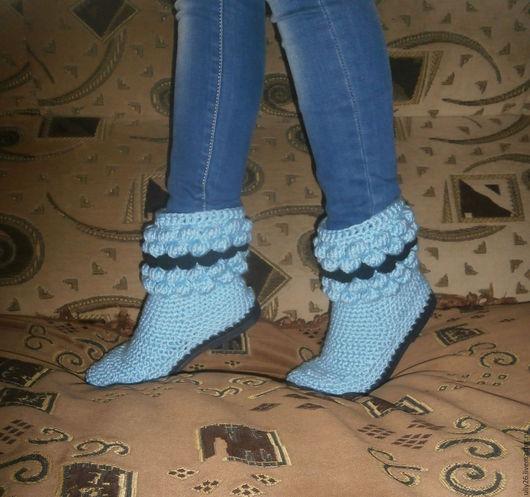 Обувь ручной работы. Ярмарка Мастеров - ручная работа. Купить Вязаные сапожки. Handmade. Тёмно-бирюзовый, Вязание крючком, весна