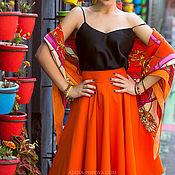 Одежда ручной работы. Ярмарка Мастеров - ручная работа Оранжевая юбка-солнце. Юбка на весну. Старая цена 4700 руб.. Handmade.
