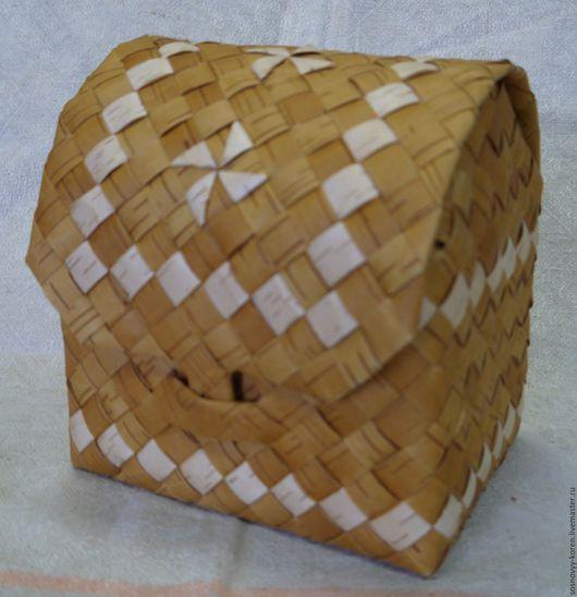 Шкатулки ручной работы. Ярмарка Мастеров - ручная работа. Купить Шкатулка (Ларец) из бересты. Handmade. Желтый, плетение из бересты