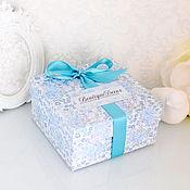 Материалы для творчества ручной работы. Ярмарка Мастеров - ручная работа Коробка с синими розами. Handmade.