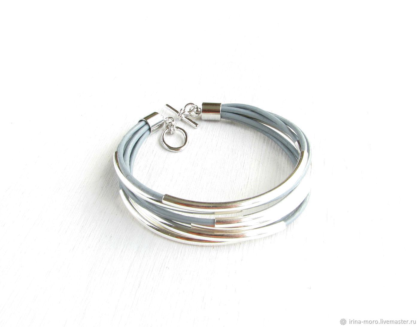 Leather bracelet,silver bracelet,grey bracelet,wrap bracelet, Braided bracelet, Moscow,  Фото №1